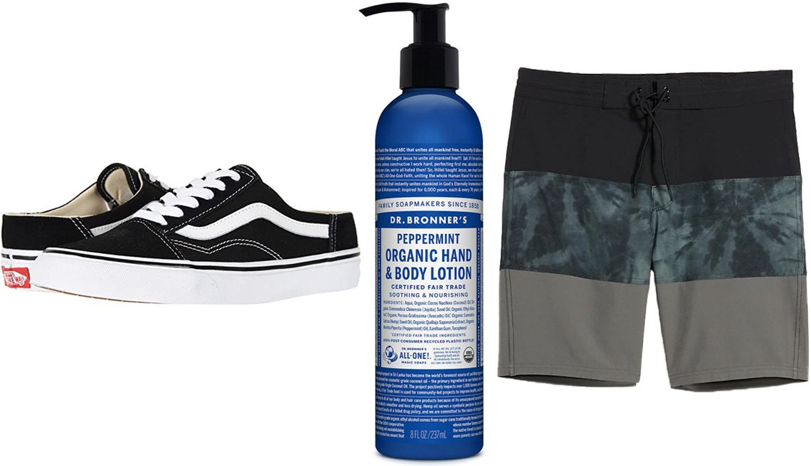 item 11 of Gallery image - Vans Old Skool Mules in Black/True White; Dr. Bronner's Organic Hand & Body Lotion in Peppermint; Old Navy Color-Blocked Built-In Flex Board Shorts for Men 10-inch inseam in Black/Green Tie Dye/Gray