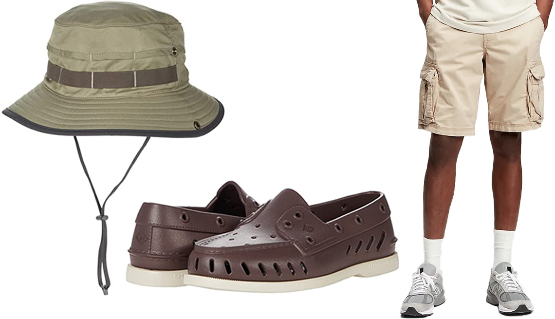 """item 5 of Gallery image - Sunday Afternoons Overlook Bucket in Olive; Sperry Authentic Original Float in Brown; Gap 11"""" Twill Cargo Shorts with GapFlex in Sand Khaki"""