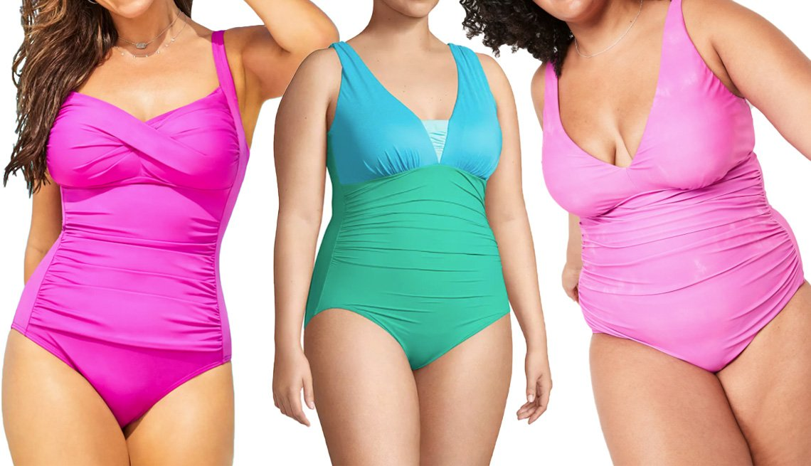 item 5 of Gallery image - Swimsuits for All Ruched Twist Front One Piece Swimsuit in Beach Rose; Lands' End Women's Plus Size Grecian Slendersuit Tummy Control One-Piece Swimsuit in Turquoise Aqua; Old Navy Deep V-Neck Underwire Secret Slim Ruched Plus-Size One-Piece Swimsuit in D
