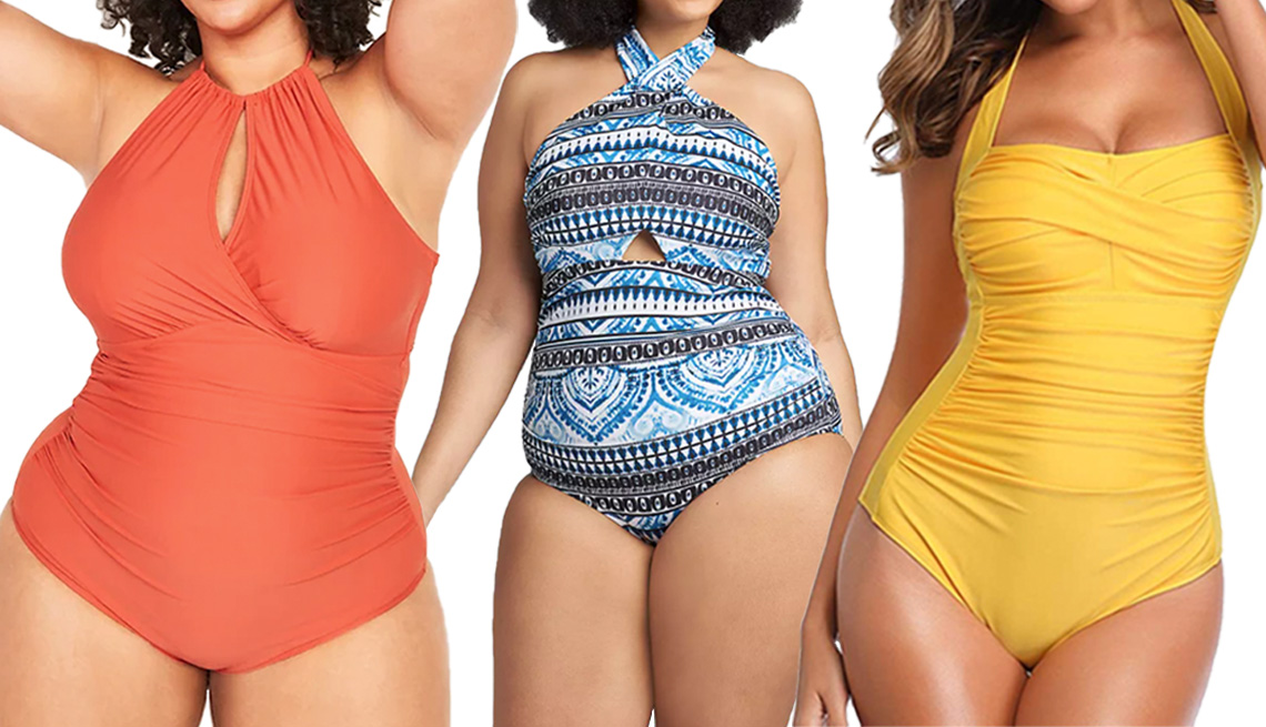 item 2 of Gallery image - Old Navy Secret-Slim Plus-Size One-Piece Halter Swimsuit in Chimayo Red; Cacique Tie-Neck Cutout No-Wire Swim One-Piece in Global Batik; Smismivo Tummy Control Halter in Yellow
