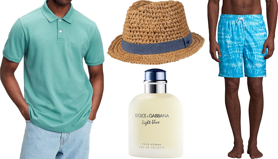 """item 6 of Gallery image - Gap All Day Pique Polo Shirt in Deep Sea Glass Blue; Men's Dockers Packable Fedora with Chambray Band; Lands' End Men's 8"""" Print Volley Swim Trunks in Turquoise Tie Dye Wave; Dolce & Gabbana Light Blue Eau de Toilette Natural Spray for Men"""