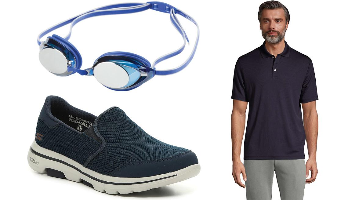 item 3 of Gallery image - (Desde arriba a la izq., en el sentido de las agujas del reloj) Gafas para nadar, con lentes espejadas, Vanquisher 2.0 Plus Mirrored Swim Goggles de Speedo en azul; polo de manga corta para hombre Solid Active Polo Shirt de Lands' End en azul marino; zapa