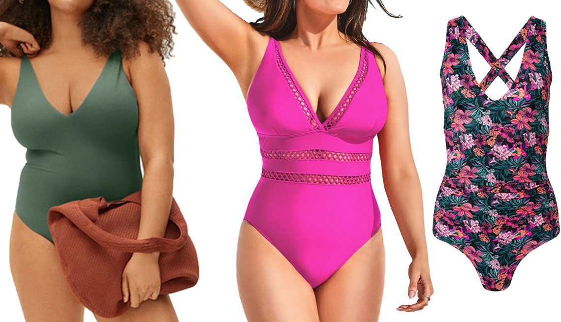 item 4 of Gallery image - Everlane V-Neck One-Piece in Herb; Swimsuits for All Lattice Plunge One-Piece in Beach Rose; Venus Slimming V-Neck One Piece in Hawaiian Hottie
