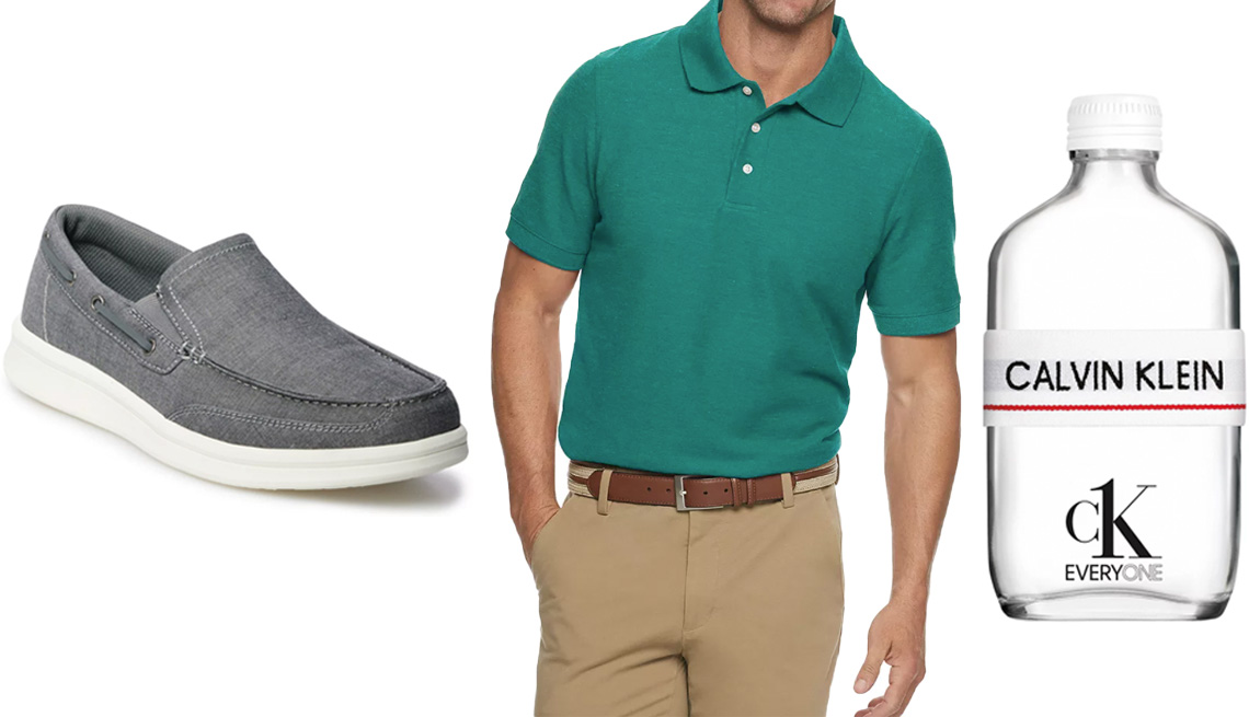 item 10 of Gallery image - Sonoma Goods for Life Thatcher Men's Boat Shoes in Chambray; Men's Croft & Barrow Easy-Care Pique Polo in Regular Fit in Peacock; Calvin Klein CK Everyone Eau de Toilette