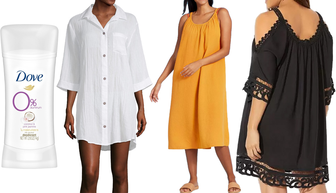 item 8 of Gallery image - Dove 0 percent Aluminum Coconut and Pink Jasmine Deodorant; a.n.a Women's Dress Swimsuit Cover-up in White; Kona Sol Women's Midi Cover Up Dress in Yellow; Vera Crochet Cold Shoulder Cover Up Dress in Black