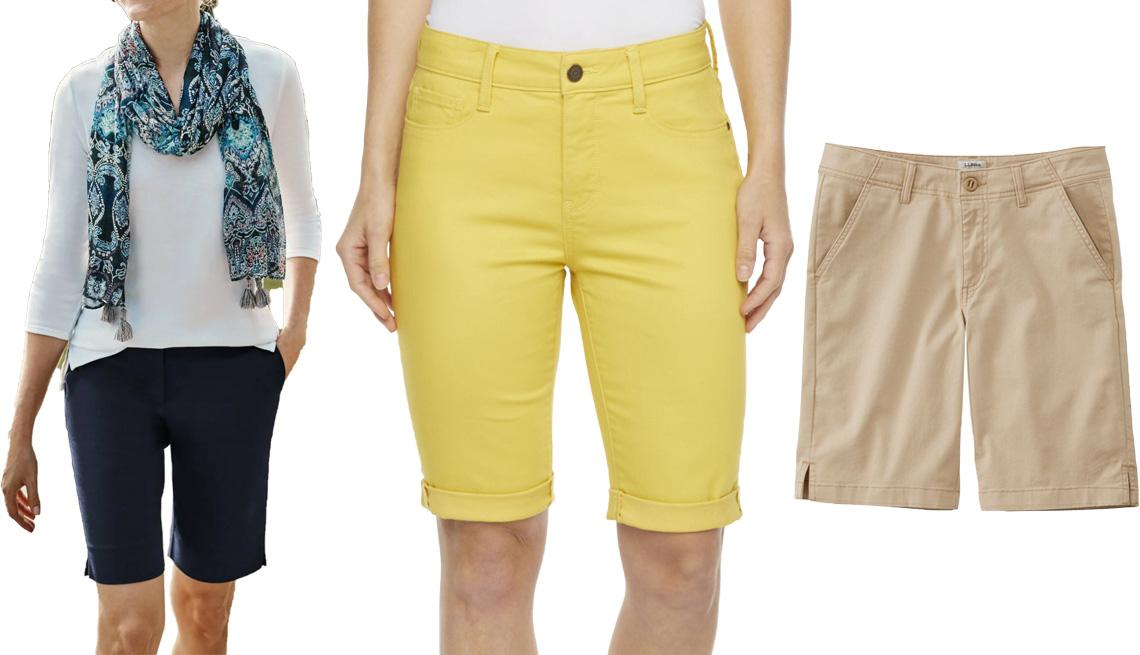 item 7 of Gallery image - (De izquierda a derecha) Pantalones cortos esenciales de algodón elástico de J.Jill, en azul marino; bermudas de tiro medio de 11 pulgadas para mujer de St. John's Bay, en amarillo Memphis; bermudas de gabardina para mujer Lakewashed de L.L.Bean, en beige