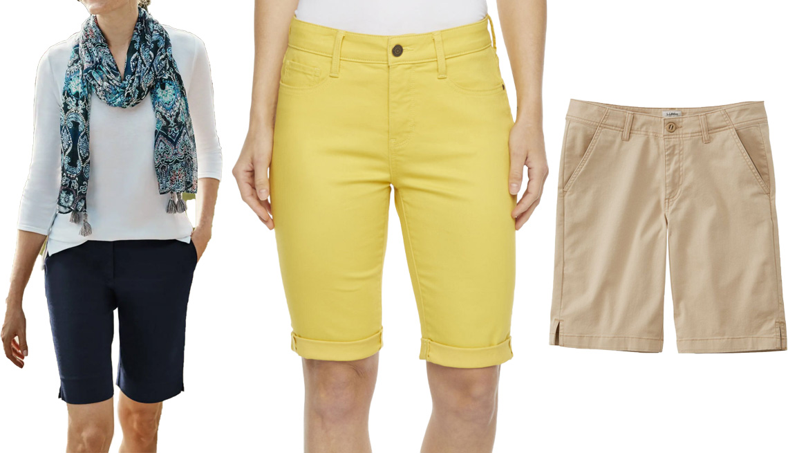 item 7 of Gallery image - J.Jill Essential Cotton-Stretch Shorts in Navy Blue; St. John's Bay Women's Mid Rise 11-Inch Bermuda Short in Memphis Yellow; L.L.Bean Women's Lakewashed Chino Shorts, Bermuda in Boulder