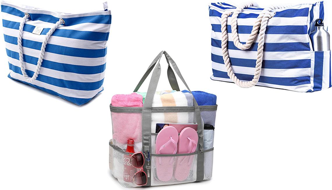 item 1 of Gallery image - (En el sentido de las agujas del reloj, desde la parte superior izquierda) Bolsa grande de lona a rayas para playa de Bag & Carry, en azul (Striped Blue); Bolsa de playa XL con cremallera de Shylero, en azul marino (Cuttlefish); Bolsa de playa de malla ex