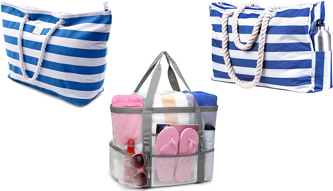 item 1 of Gallery image - Bag & Carry Large Canvas Striped Beach Bag in Striped Blue; Shylero Beach Bag & Pool Bag XL - Zippered in Navy Blue Cuttlefish; F-Color Oversized Mesh Beach Bag in White