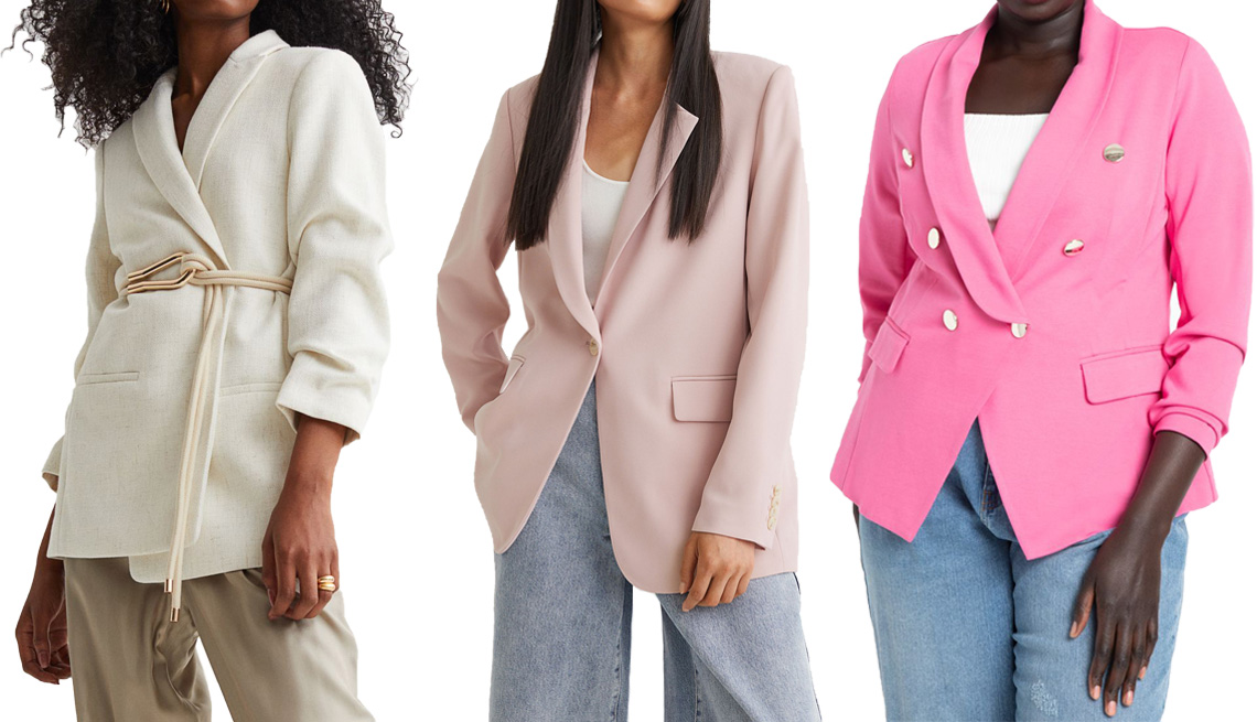 item 5 of Gallery image - H&M Gathered-Sleeve Jacket in Cream; H&M Single-Breasted Jacket in Light Pink; Eloquii Double Breasted Blazer in Phlox Pink
