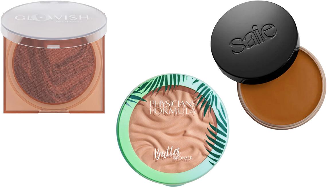item 7 of Gallery image - (De izquierda a derecha) Huda Beauty GloWish Soft Radiance Bronzing Powder; Physicians Formula Murumuru Butter Bronzer; Saie Sun Melt Natural Cream Bronzer en tono medio.