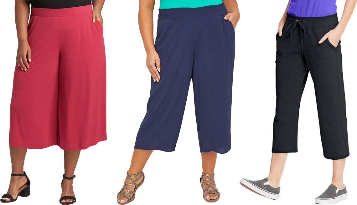 item 3 of Gallery image - (De izquierda a derecha) Pantalones capri de pierna ancha sin cremallera Knit Kit de Lane Bryant, en color sangría; pantalones capri sin cremallera, de Catherines Gauze, en azul marino; pantalones capri de felpa francesa con bolsillos para mujer, de Hanes