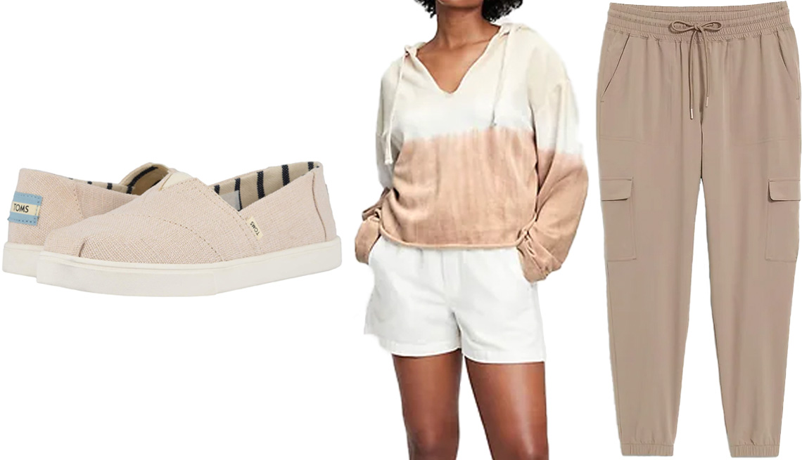 item 4 of Gallery image - Toms Alpargata Cupsole in in Natural Heritage Canvas; Gap Vintage Soft Cropped V-Neck Hoodie in Light Brown Tie Dye; Old Navy High-Waisted StretchTech Cargo Jogger Pants for Women in Chocolate Malted