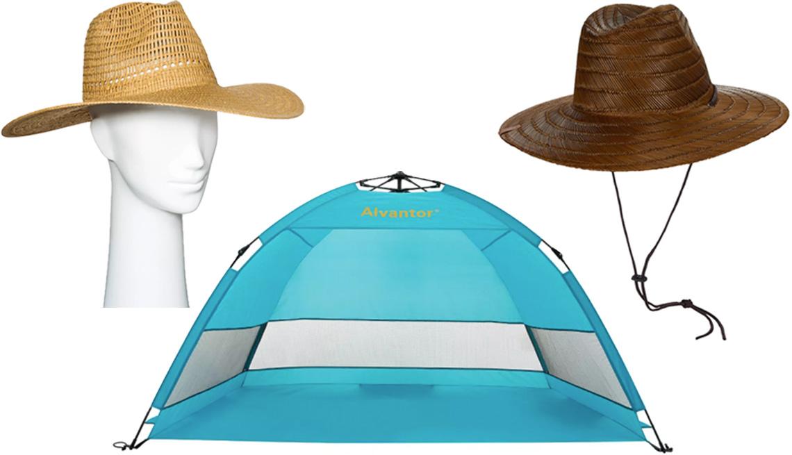 item 6 of Gallery image - Universal Thread Women's Wide Brim Open Weave Straw Panama Hat; Brixton Bell Sun Hat; Alvantor Outdoor Automatic Pop-Up Hub Style Beach Tent