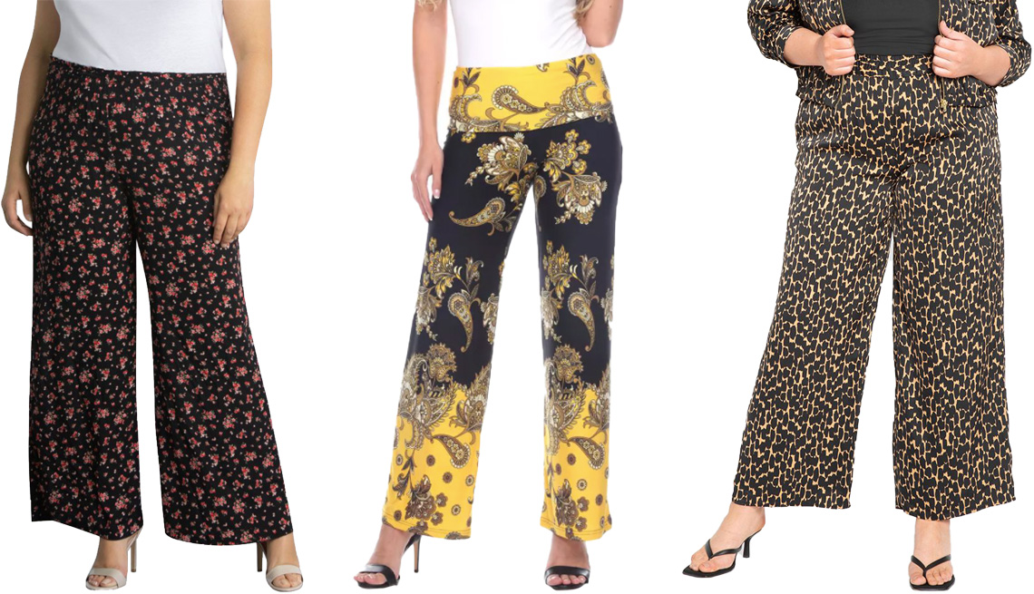 item 4 of Gallery image - Kiyonna Mitchie Wide-Leg Pants in Black/Red for Dia & Co; White Mark Women's Floral Paisley Printed Palazzo Pants in Black/Gold; Eloquii Wide Leg Pull On Pant in Black Coffee