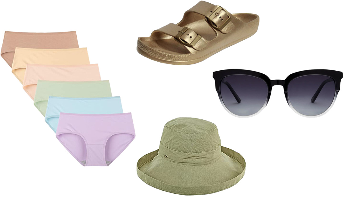 item 6 of Gallery image - INNERSY Women's Underwear Cotton Hipster Panties, Regular & Plus Size 6-Pack in Bright Basics; SNJ Women's Lightweight EVA Comfort Sandals in Gold; Privé Revaux The Influencer; Scala Women's Cotton Sunhat with UPF50+ in Chino Green