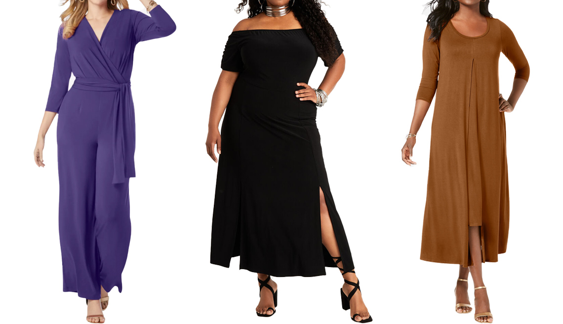 item 6 of Gallery image - Jessica London Wide Leg Jumpsuit in Midnight Violet; Ashley Stewart Off the Shoulder Slit Front Maxi in Black; Jessica London Double Layered Dress in Antique Copper