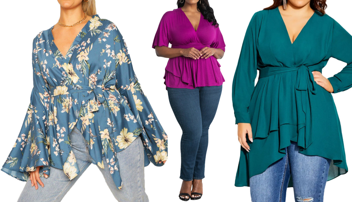 item 1 of Gallery image - Boohoo Plus Extreme Wide Sleeve Wrap Top in Blue; Kiyonna Marcy Empire Waist Top for Dia & Co in Magenta; City Chic Shibara Faux Wrap High/Low Top in Alpine Plus Size
