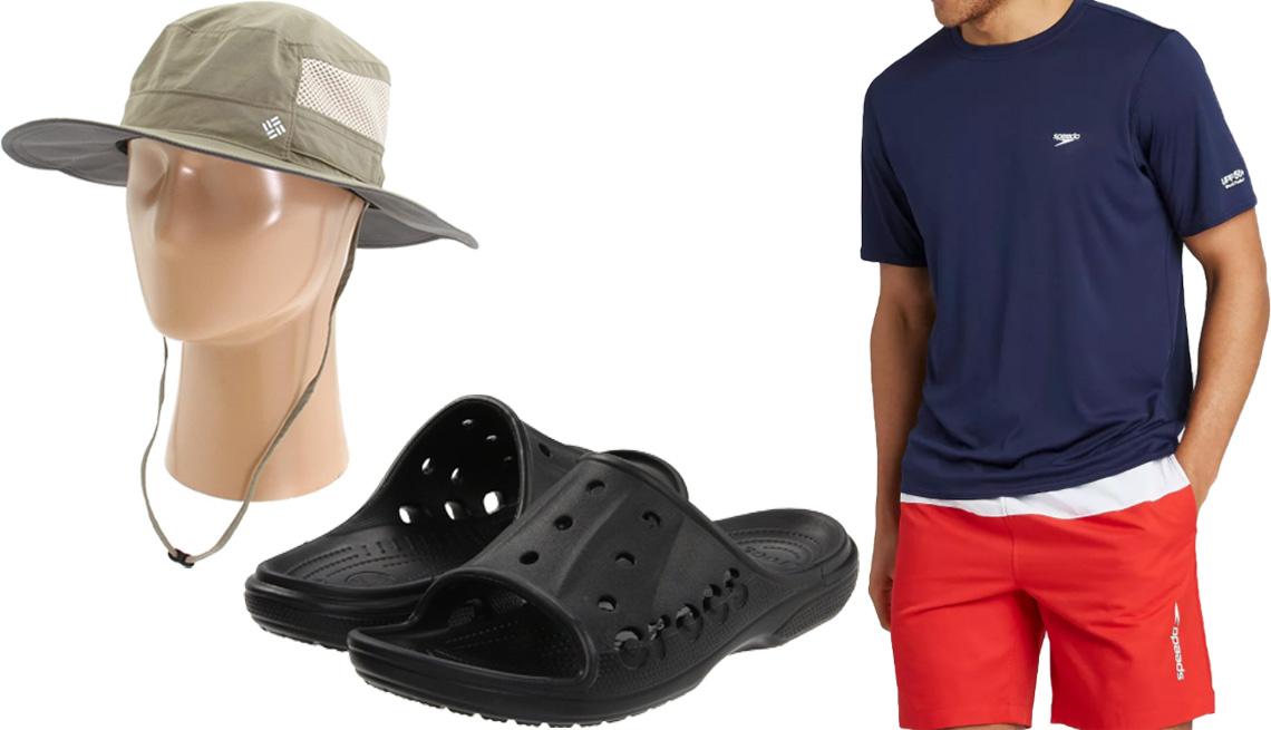 item 10 of Gallery image - Sombrero Bora Bora Booney II de Columbia (arriba a la izquierda); Crocs para hombre Baya Slide In en negro (abajo, en el medio); camiseta Men's Rash Guard de Speedo en azul marino (derecha).
