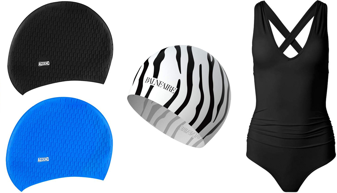item 9 of Gallery image - Aegend Swim Caps for Women and Men 2 pack; Balneaire Silicone Long Hair Swim Cap for Women in Zebra; Venus Plus-Size Slimming V-Neck One Piece in Black Beauty