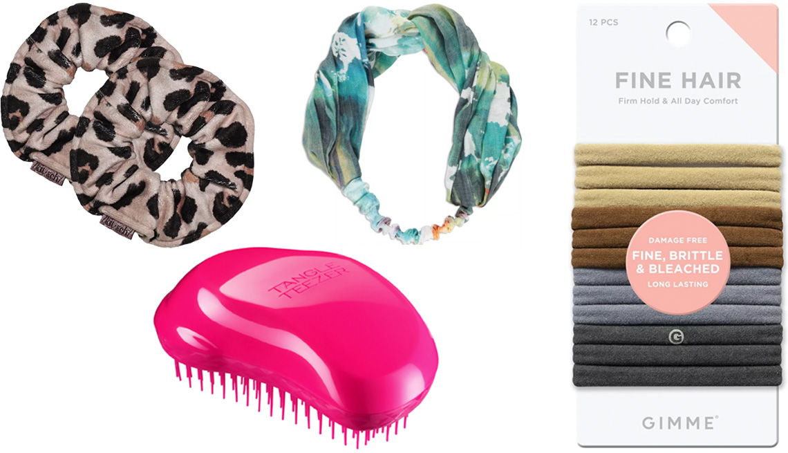 item 2 of Gallery image - Kitsch Leopard Microfiber Towel Scrunchies (top left); Tangle Teezer The Original Detangling Hair Brush; Scunci Collection Headwrap Color Print in Blue Water; Gimme Beauty Fine Hair Multi-Color Neutral Bands