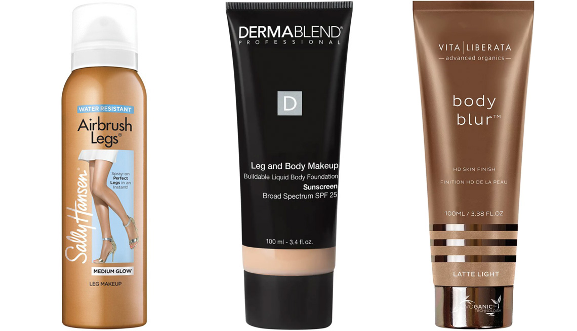 item 1 of Gallery image - Sally Hansen Airbrush Legs Spray; Dermablend Leg and Body Makeup Foundation; Vita Liberata Body Blur Instant HD Finish