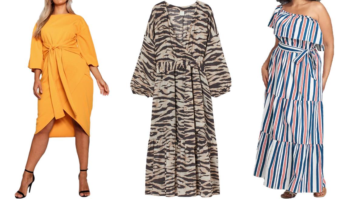 item 3 of Gallery image - (De izq. a der.) Vestido a media pierna Boohoo Plus Kimono Sleeve Wrap Over Midi Dress en color mostaza; vestido largo envolvente H&M Long Wrap Dress en color beige/estampado de cebra; vestido largo Lane Bryant Multi-Way Off-the-Shoulder Poplin Maxi Dress