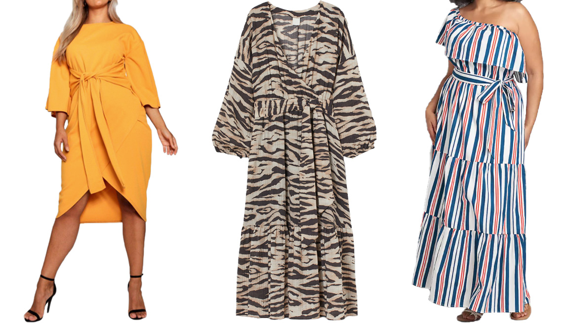 item 3 of Gallery image - Boohoo Plus Kimono Sleeve Wrap Over Midi Dress in Mustard; H&M Long Wrap Dress in Beige/Zebra Print; Lane Bryant Multi-Way Off-the-Shoulder Poplin Maxi Dress in Stripe