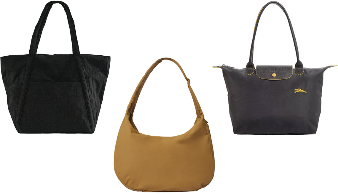 item 2 of Gallery image - Baggu Cloud Bag in Black; Everlane The Oversize Carryall in Breen; Longchamp Le Pliage Club Small Shoulder Tote in Gun Metal/Silver