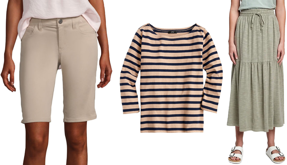 "item 5 of Gallery image - Liz Claiborne Women's Stretch 11"" Bermuda Short in Flax; J.Crew Structured Boatneck T-Shirt in Khaki Navy Icon Stripe; Gap Tiered Midi Skirt in Desert Cactus Green"