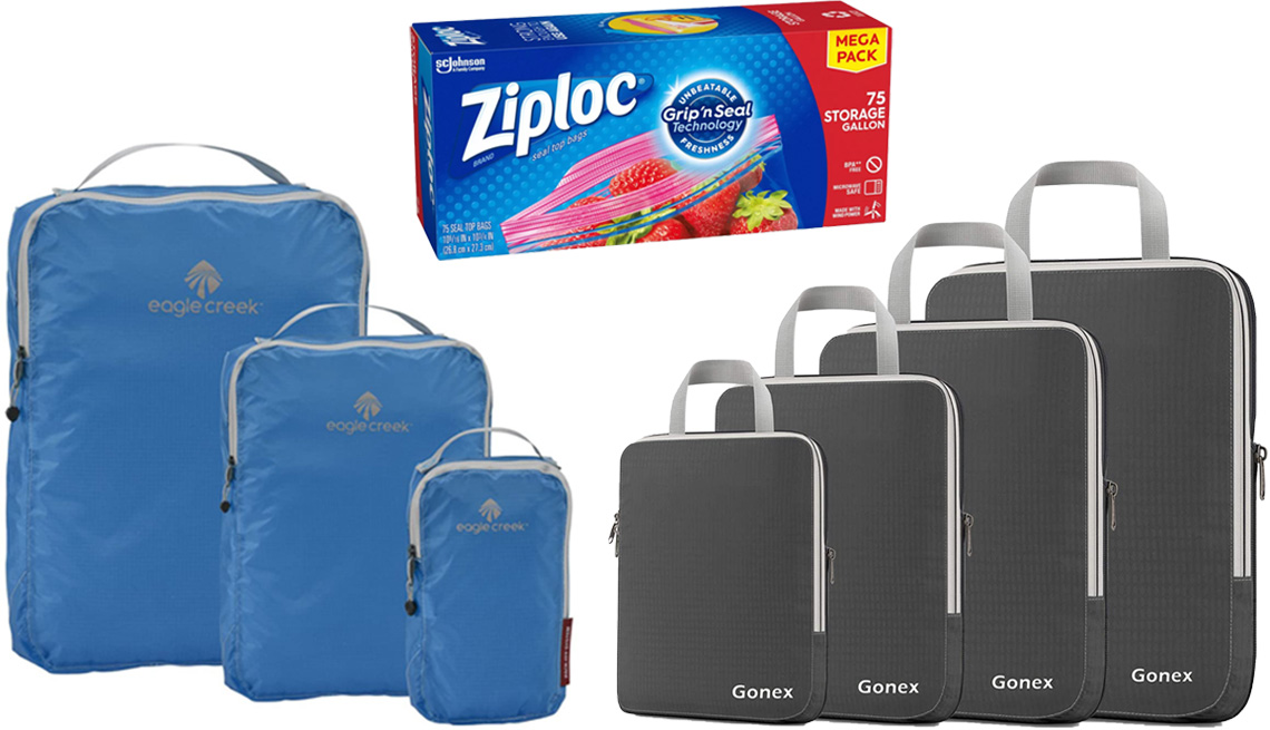 item 8 of Gallery image - Eagle Creek Pack-It Specter Tech Cube Set in Brilliant Blue; Ziploc Storage Gallon Bags; Gonex Compression Packing Cubes 4 PC in Deep Gray