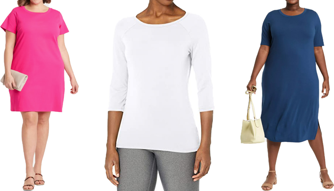 item 7 of Gallery image - (De izquierda a derecha) Vestido estilo camiseta Ava & Viv Women's Plus-Size Short Sleeve T-Shirt Dress en color rosa; camiseta de algodón Hanes Women's Stretch Cotton Raglan Sleeve Tee en color blanco; vestido de tejido de punto Ava & Viv Women's Plus Si