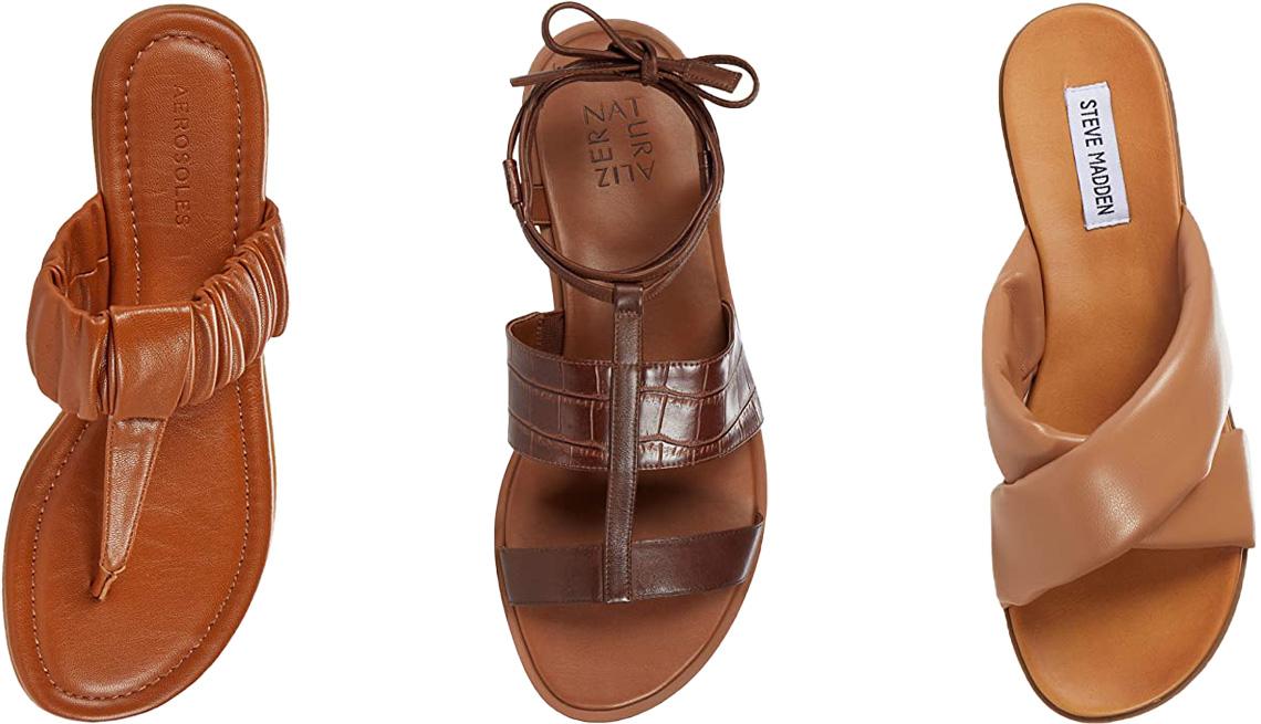 item 9 of Gallery image - (De izquierda a derecha) Cady de Aerosoles, en marrón claro; Fayee de Naturalizer, en marrón con diseño de cocodrilo (Lodge Brown Croco); sandalias Crozz de Steve Madden, en color piel.