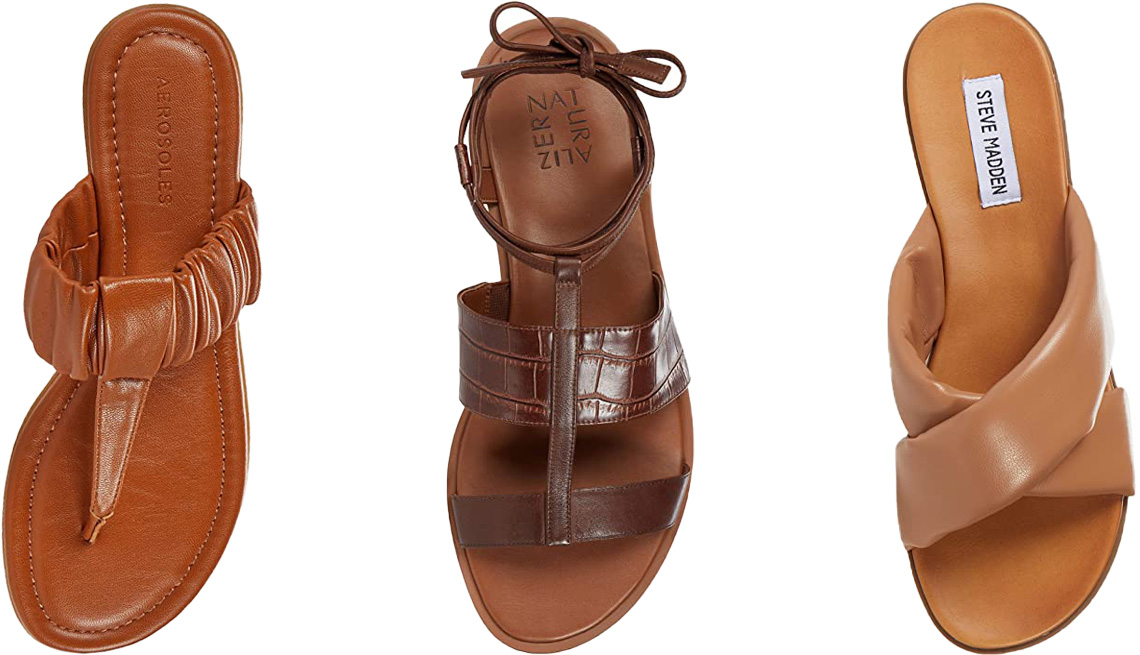 item 9 of Gallery image - Aerosoles Cady in Tan; Naturalizer Fayee in Lodge Brown Crocco; Steve Madden Crozz Sandal in Nude