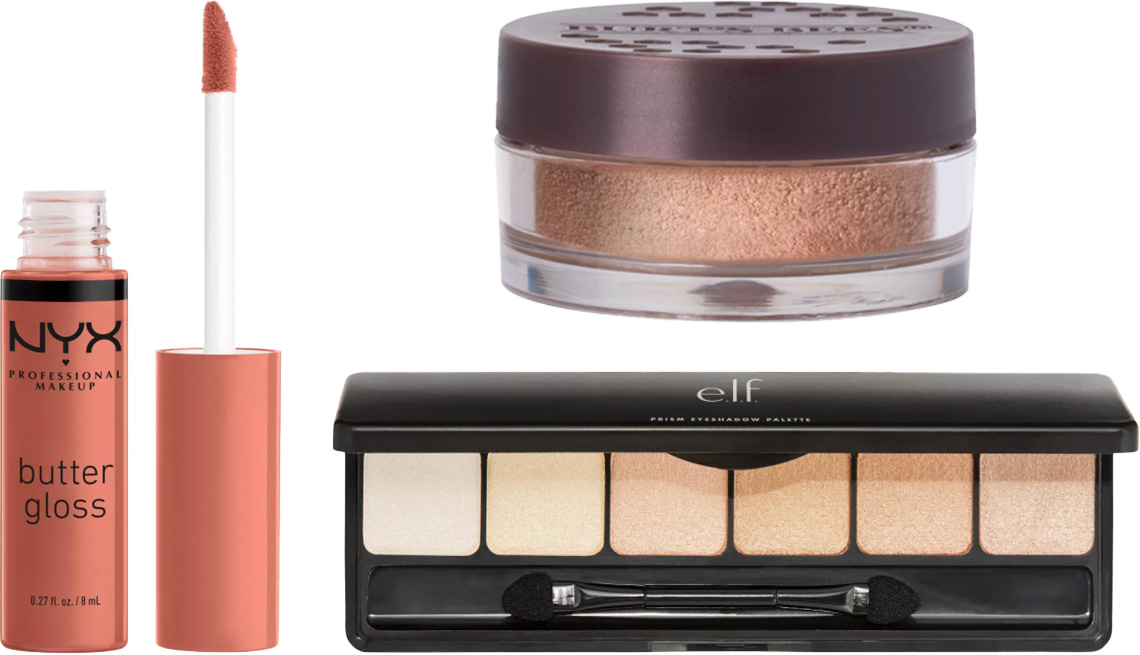 item 9 of Gallery image - NYX Professional Makeup Butter Lip Gloss in Sugar High; Burt's Bees Color Nurture Cream Eye Shadow in Caramel Buttercream; e.l.f. Prism Eyeshadow Palette in Naked