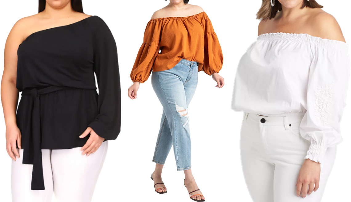 item 2 of Gallery image - Michael Michael Kors One-Shoulder Tunic Plus in Black; Eloquii Slouchy Puff Sleeve Blouse in Spice Route; Lane Bryant Shirred Off-the-Shoulder Crop Top with Crochet in White
