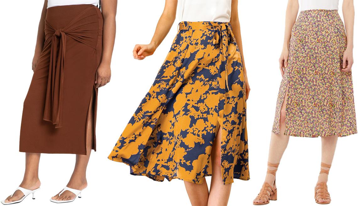 item 4 of Gallery image - (De izquierda a derecha) Falda larga envolvente con amarre delantero, de Eloquii, en marrón (Potting Soil); falda a media pierna con abertura, cintura alta y corte en línea A con cinturón, de Allegra K, en diseño floral naranja y azul; falda con abertura