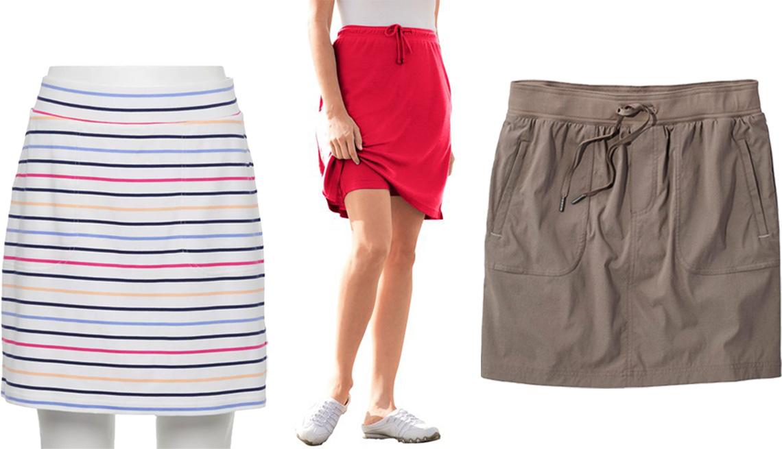item 5 of Gallery image - (De izquierda a derecha) Falda-pantalón a rayas, sin cremallera, de Croft & Barrow; falda-pantalón deportiva, en tallas grandes, de Woman Within, en rojo brillante; falda-pantalón Vista Camp, de L.L.Bean, en almendra tostada.