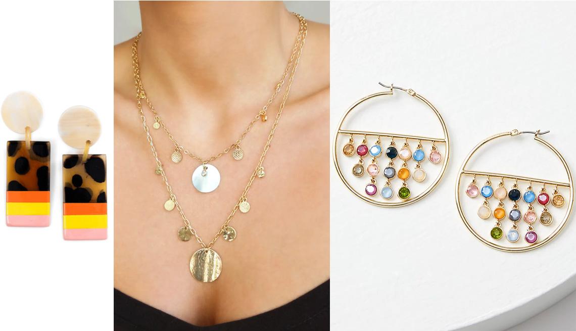 item 7 of Gallery image - (De izq. a der.) Atractivos Desert Sun Horn Statement Earrings; juego de 2 collares de estaciones Ettika en color dorado; aretes de argollas con cuentas, de Loft.