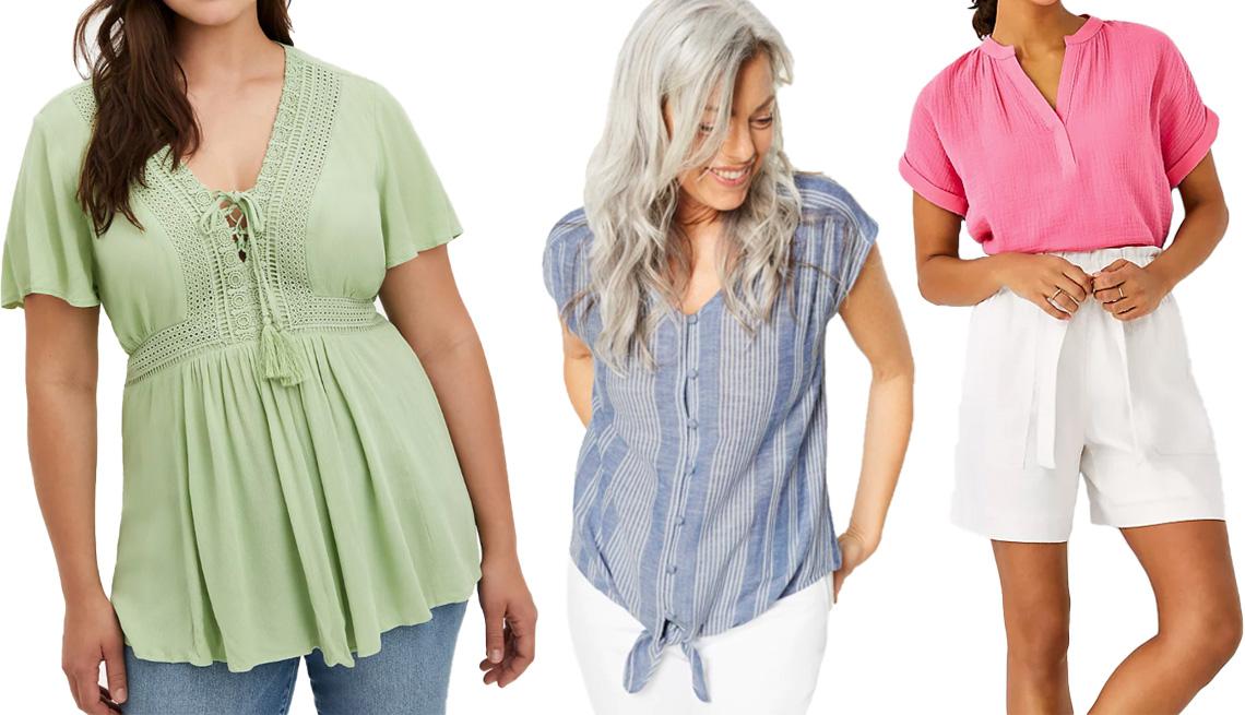 """item 10 of Gallery image - (De izquierda a derecha) Blusa estilo """"baby doll"""" de gasa arrugada con cordones de Torrid, en verde; blusa a rayas con textura de amarre delantero de J.Jill, en zafiro/blanco; blusa de gasa de cuello dividido de Ann Taylor, en rosa tropical."""
