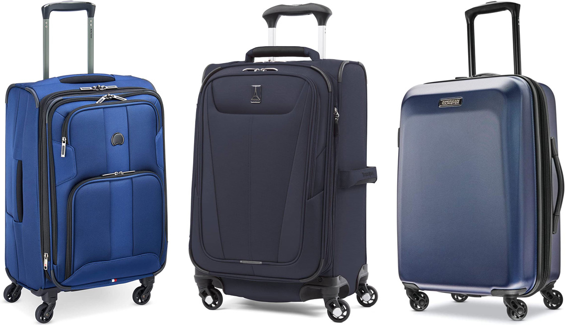 """item 1 of Gallery image - Delsey Paris Sky Max 2.0 Softside Expandable Luggage with Spinner Wheels Carry-On 21-Inch in Steel Blue; TravelPro Maxlite 5 21"""" Expandable Carry-On Spinner in Midnight Blue; American Tourister Moonlight Hardside Expandable Luggage with Spinner Wheels, Ca"""