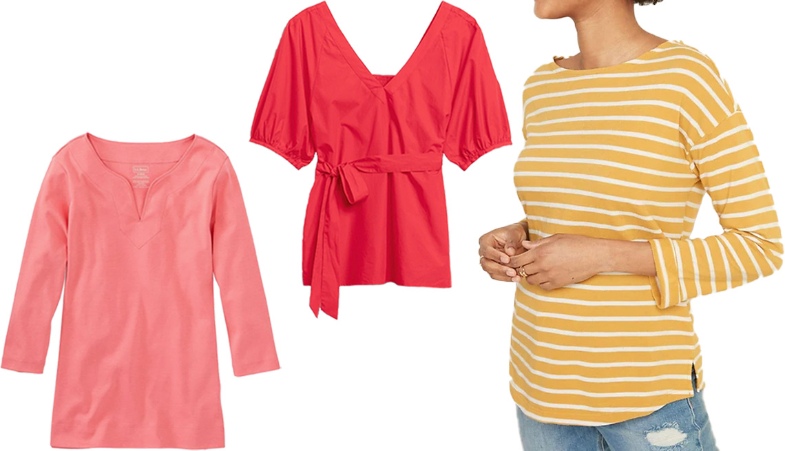 item 11 of Gallery image - L.L. Bean Women's Pima Cotton Tunic Three-Quarter Sleeves Splitneck in Shell Coral; Banana Republic Poplin Belted Top in Strawberry Delight; Old Navy Relaxed French Terry Top for Women in Yellow Stripe