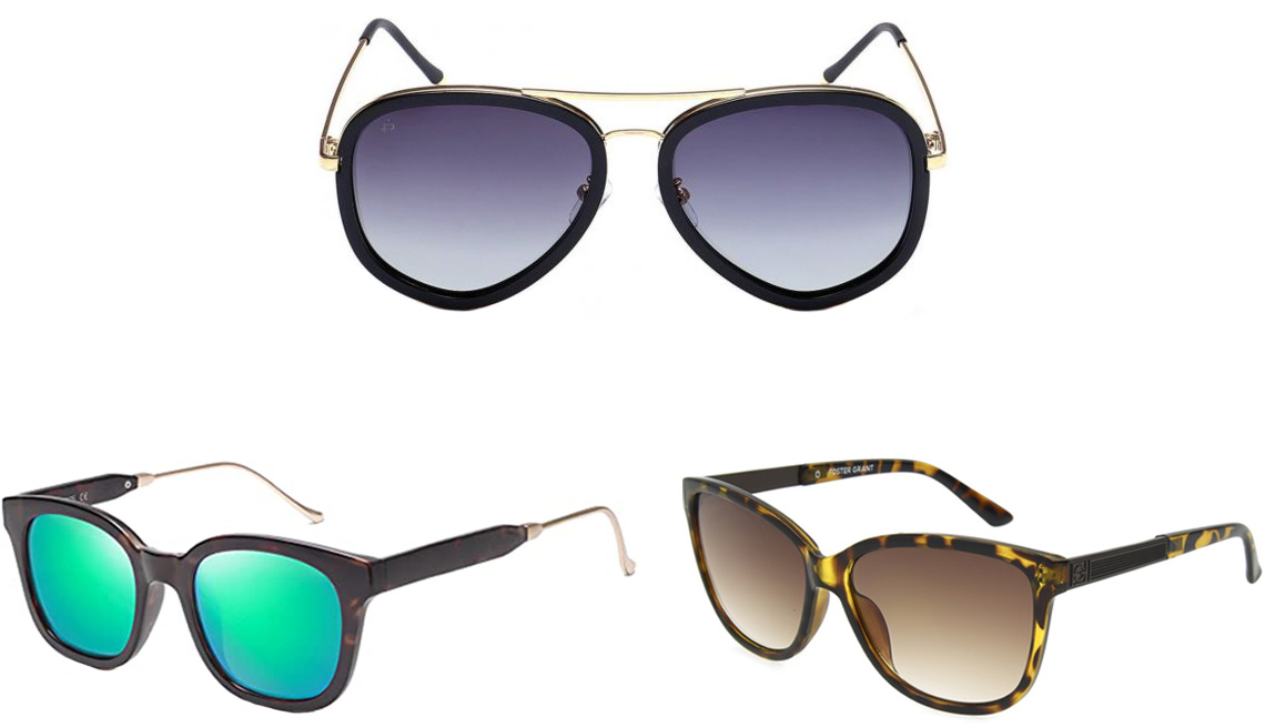 item 3 of Gallery image - Sojos Classic Square Polarized Sunglasses UV400, style SJ2050 in Black Tortoise; Prive Revaux The Supermodel Polarized Sunglasses in Black and Gold/Gradient Gray; Tiana SunReaders in Tortoise with Brown Gradient Lenses