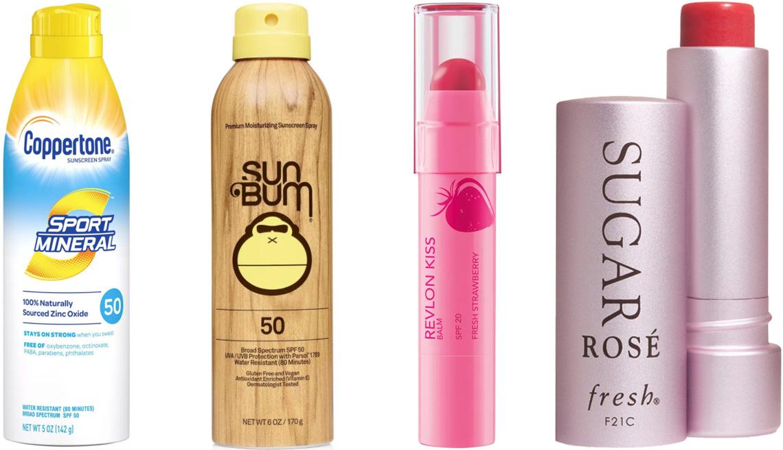 item 5 of Gallery image - Coppertone Sport Mineral Sunscreen Spray SPF 50; Sun Bum Original Sunscreen Spray SPF 50; Revlon Kiss Lip Balm SPF 20 in Fresh Strawberry; Fresh Sugar Lip Balm Sunscreen with SPF 15 in Rosé