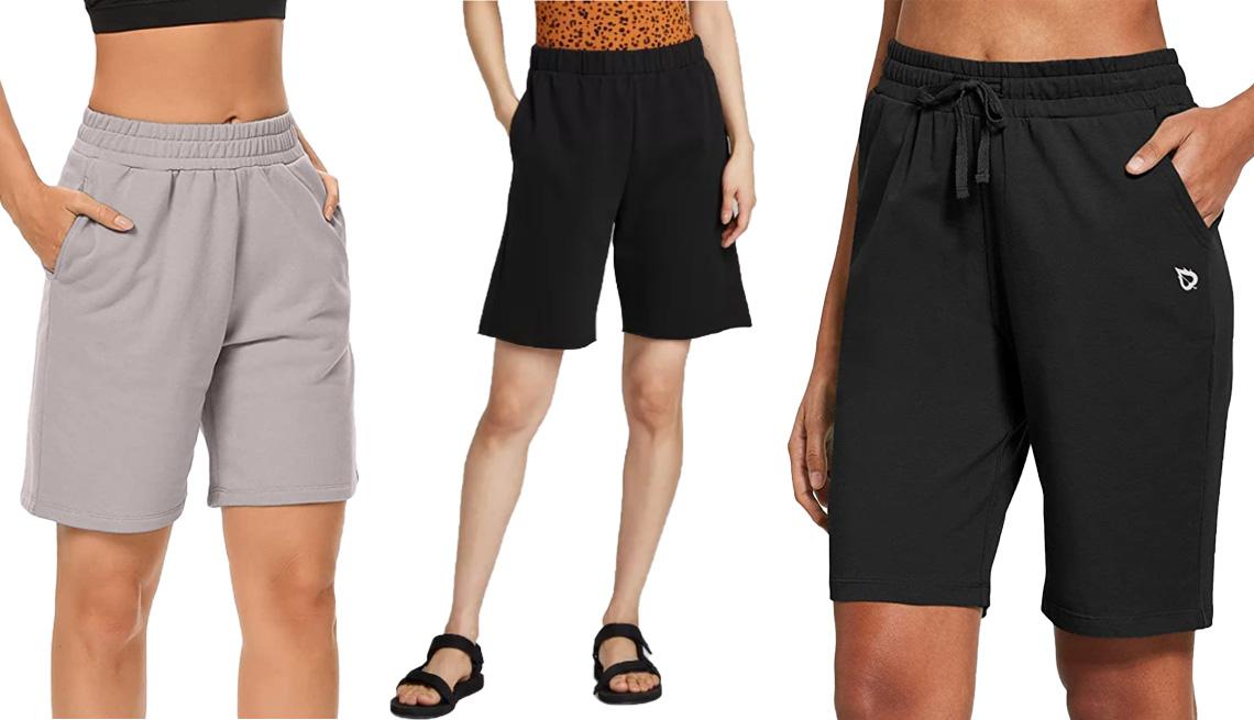 item 8 of Gallery image - (De izquierda a derecha) Pantalones deportivos cortos con bolsillos de Arrive Guide, en gris ahumado; bermudas de tiro alto para mujer, de Wild Fable, en negro; pantalones cortos atléticos suaves de punto de algodón hasta la rodilla con bolsillos, para m