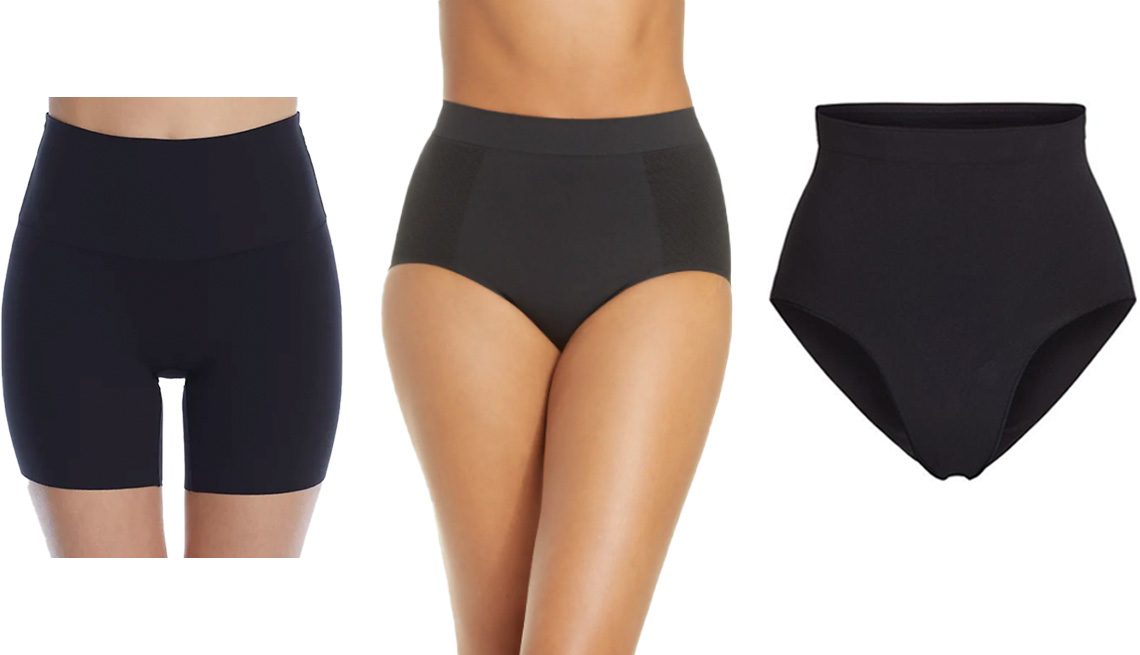 item 8 of Gallery image - Reveal Flexible Fit Shaping Boyshort in Midnight; Wacoal Keep Your Cool Shaping Briefs in Tap Shoe; Skims Sculpting Mid Waist Brief in Onyx