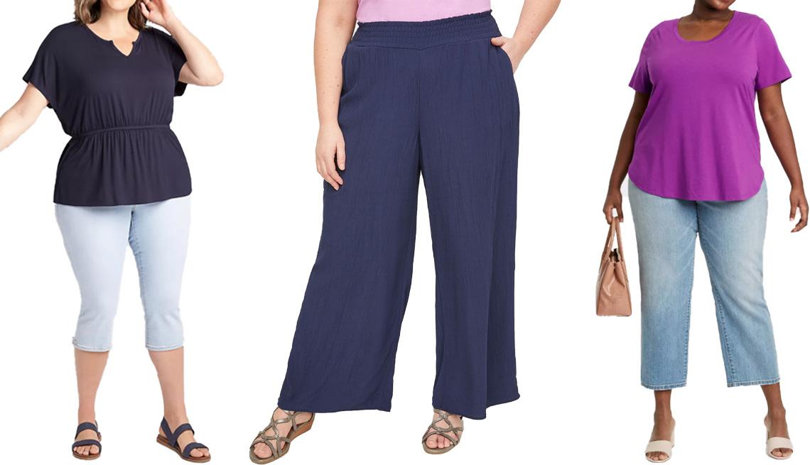 item 1 of Gallery image - (De izquierda a derecha) Blusa Dolman Notch-Neck Babydoll Tee en Night Sky de la marca Lane Bryant; pantalones Breezy Crinkle Wide Leg Pants en Mariner Navy de la marca Catherines; camiseta Women's Plus Size Essential Relaxed Scoop Neck T-Shirt en Purple