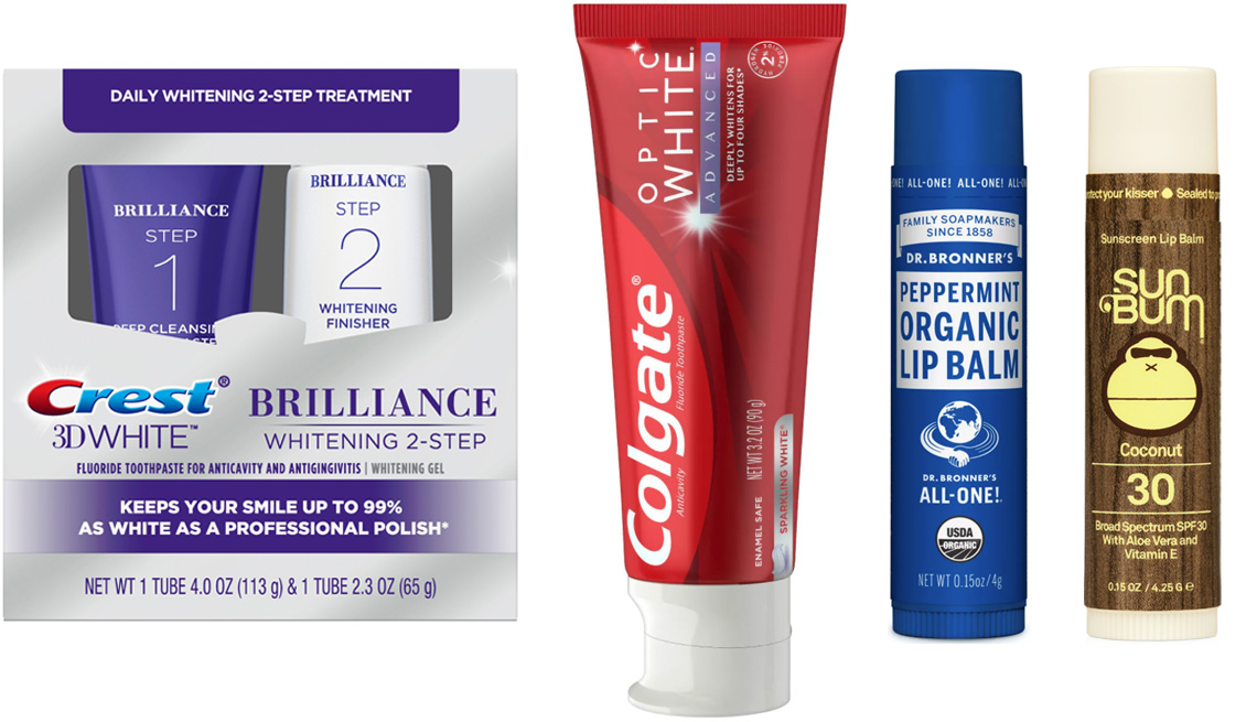 item 8 of Gallery image - (De izquierda a derecha) Crest 3D White Brilliance + Whitening Two-Step Toothpaste; Colgate Optic White Advanced Whitening Toothpaste with 2% Hydrogen Peroxide in Sparkling White; Dr. Bronner's Organic Lip Balm Peppermint; Sun Bum SPF 30 Coconut Lip Balm.