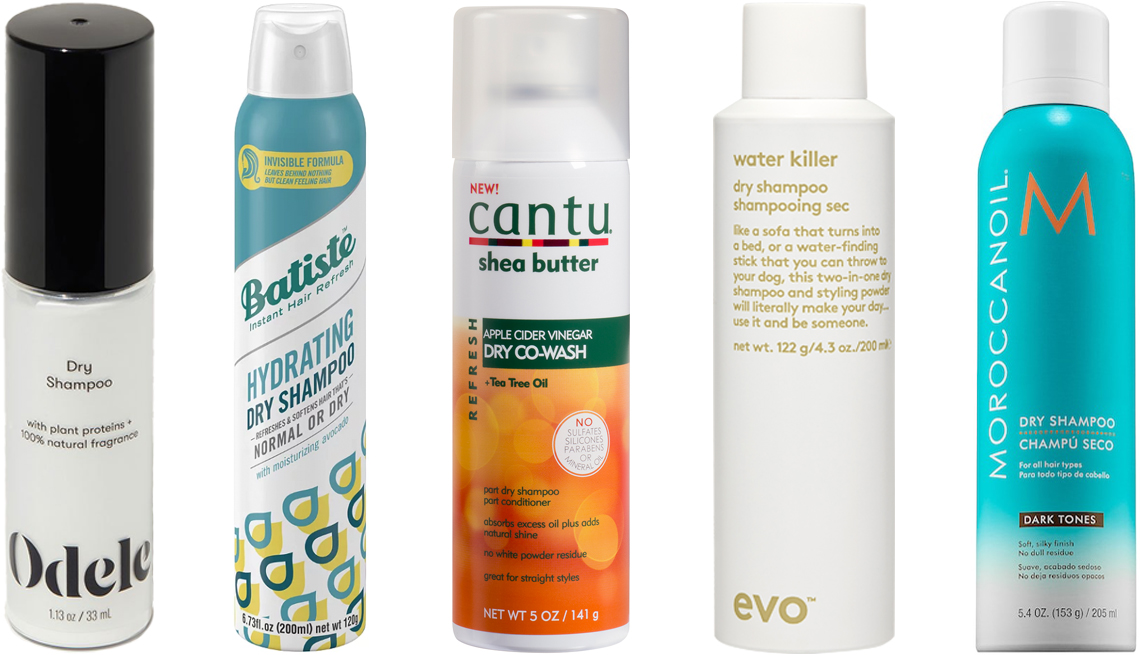 Odele Dry Shampoo; Batiste Hydrating Dry Shampoo; Cantu Apple Cider Vinegar Dry Co-Wash; evo Water Killer Dry Shampoo; Moroccanoil Dry Shampoo Dark Tones