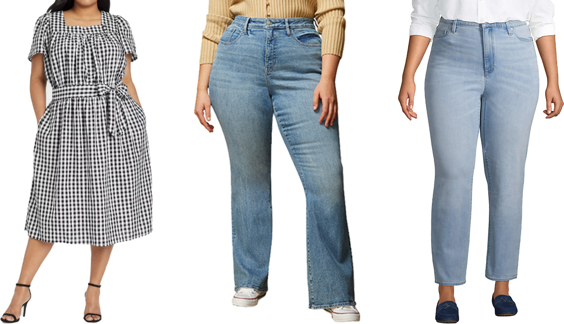 item 2 of Gallery image - Who What Wear Women's Puff Short Sleeve Dress in Black/White Gingham Check; Warp + Weft Mia High-Rise Flared Jeans; Lands' End Plus Size High Rise Straight Leg Ankle Blue Jeans in Juneberry Blue